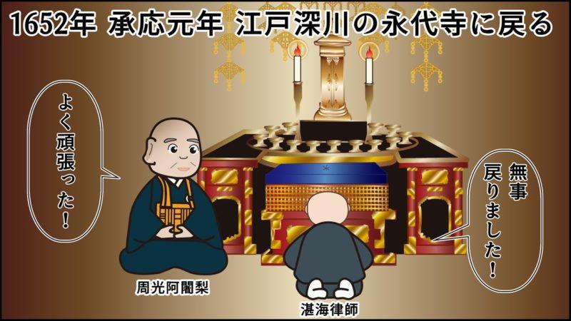 1652年 承応元年 江戸深川の永代寺に戻る。湛海律師「無事 戻りました!」、周光阿闍梨「よく頑張った!」