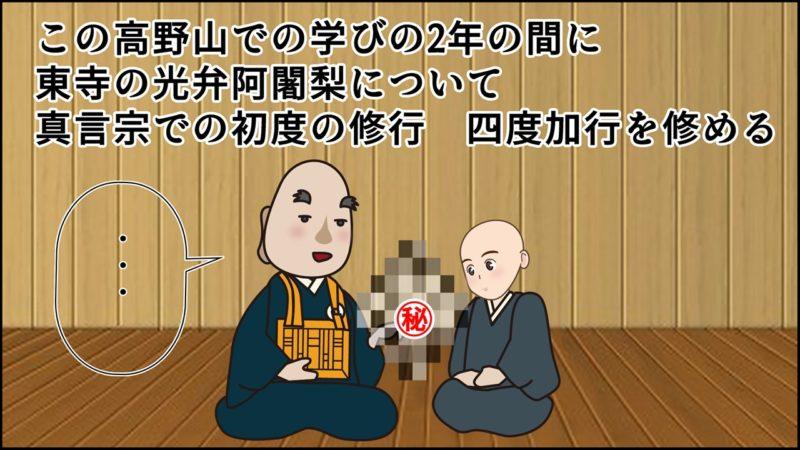 この高野山での学びの2年の間に 東寺の光弁阿闍梨について 真言宗での初度の修行 四度加行を修める。