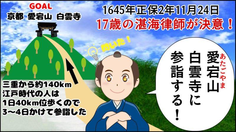 1645年 正保2年 11月24日、湛海律師17歳の時、京都にある愛宕山 白雲寺に参詣することを決意しました。